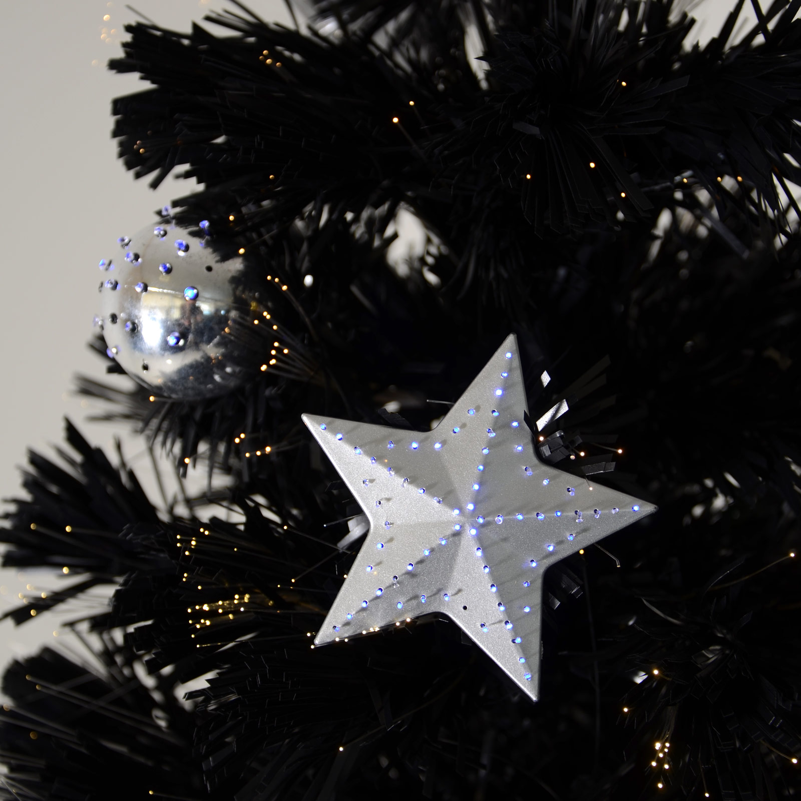 6ft (180cm) Christmas Black Fibre Optic Tree With Warm