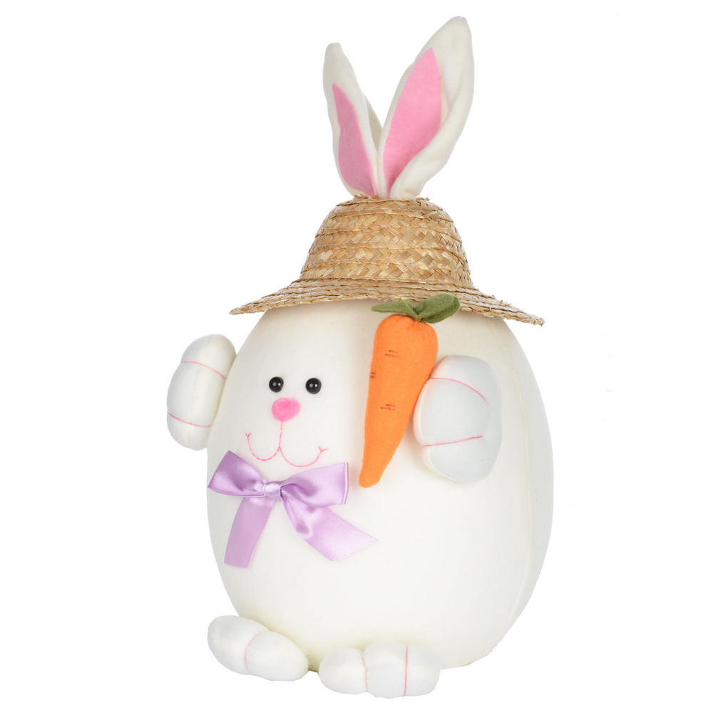 Easter bunny rabbit decoration decor with straw hat new for Rabbit decorations home