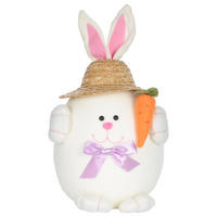 Easter Bunny Rabbit Decoration Decor With Straw Hat New