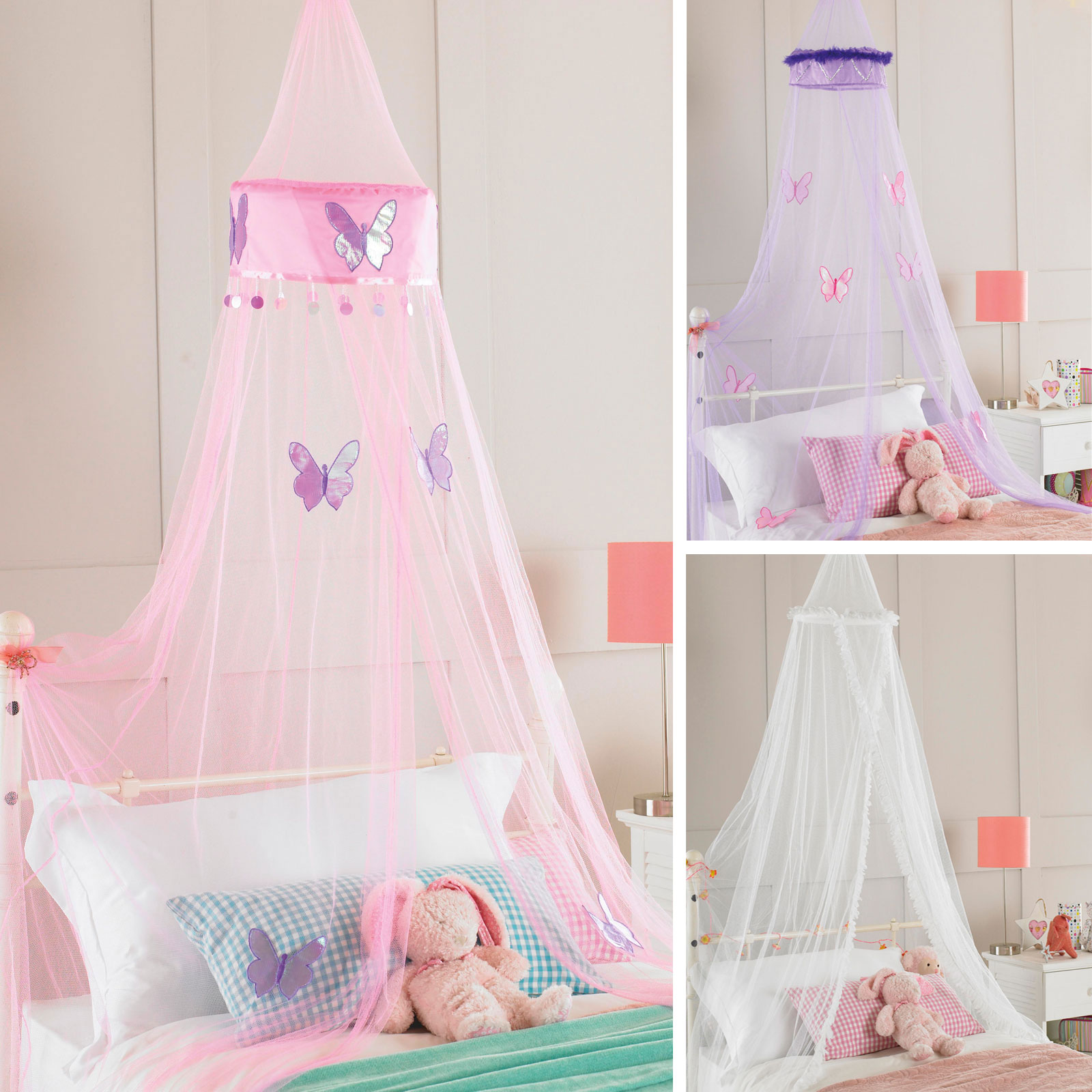 Image is loading Childrens-Girls-Bed-Canopy-Mosquito-Fly-Netting-Ruffle-  sc 1 st  eBay & Childrens Girls Bed Canopy Mosquito Fly Netting - Ruffle Or ...