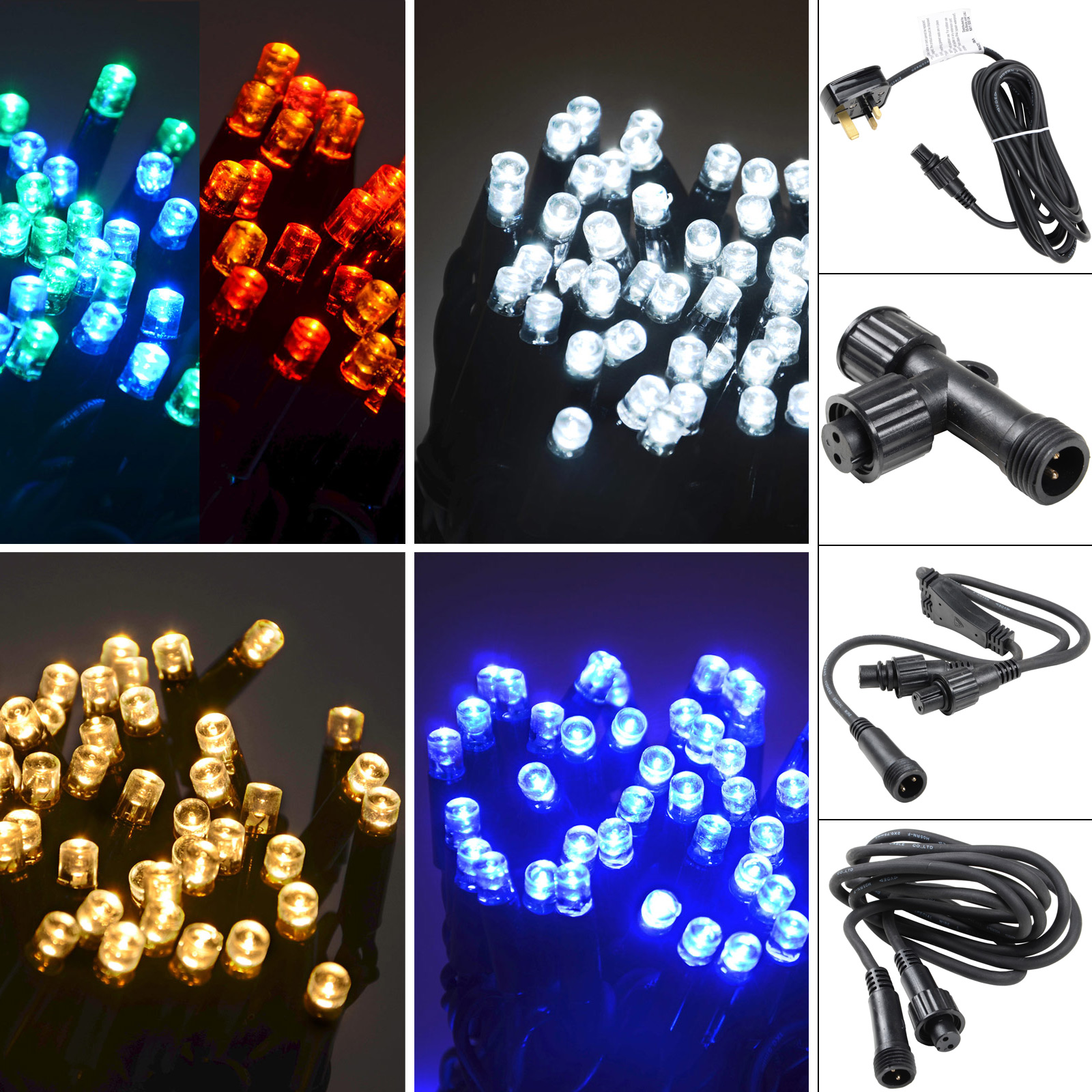 Connectable String Lights 100 LED Sets Power Cord Extension Cables Outdoor Use