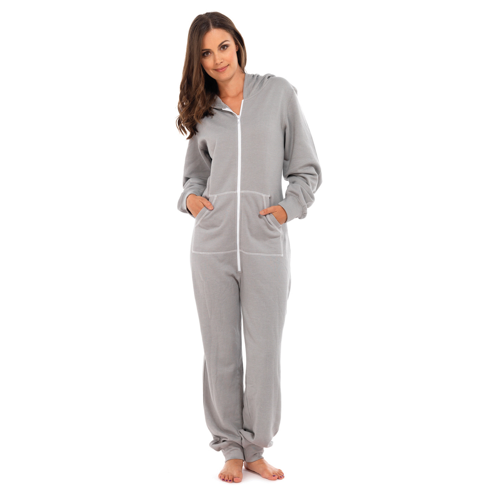 ladies all in one piece pyjama suit with hood sleep jump onesie pjs nightwear. Black Bedroom Furniture Sets. Home Design Ideas