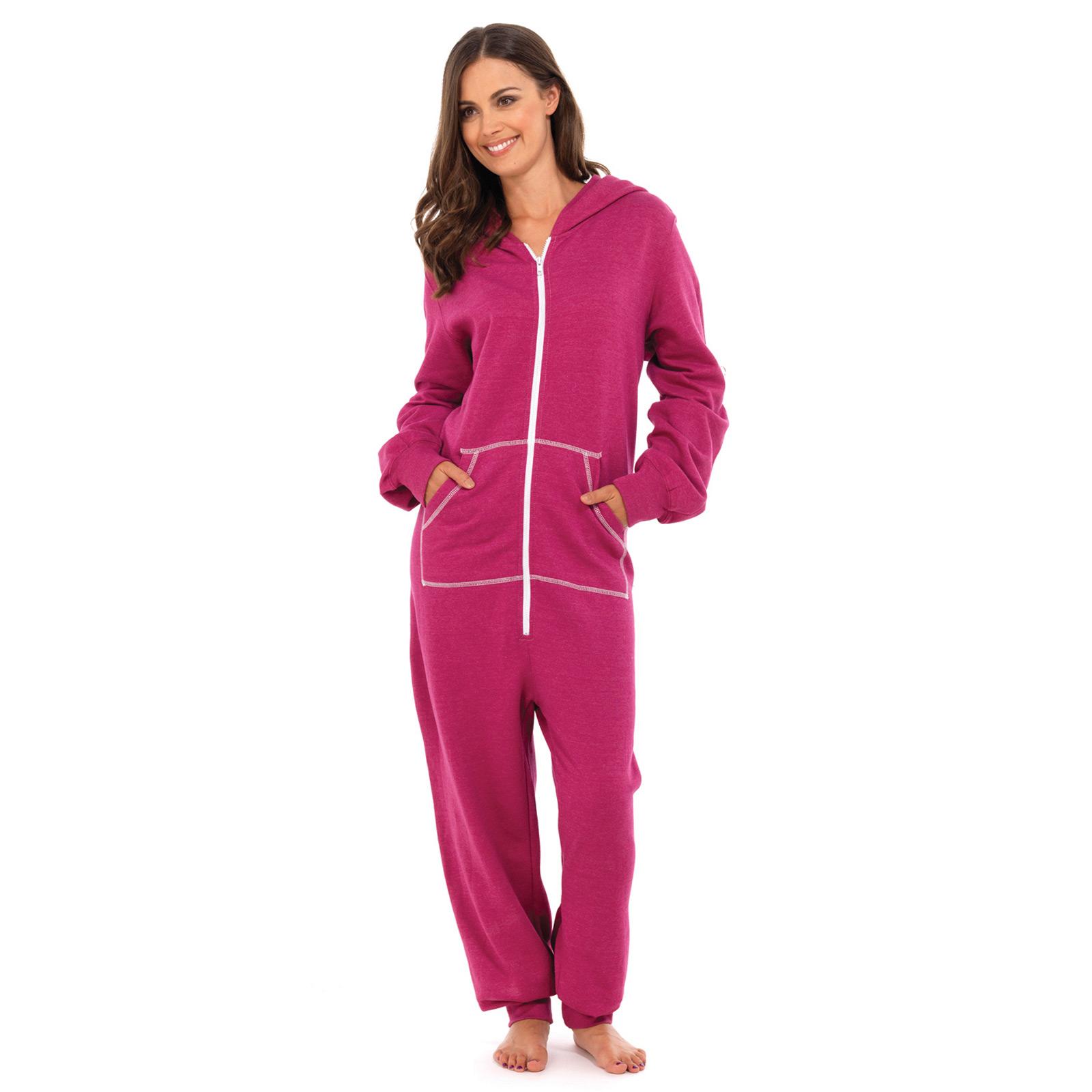 ladies all in one piece pyjama suit with hood sleep jump. Black Bedroom Furniture Sets. Home Design Ideas