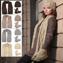 Ladies Elin Cable Knit Accessory Set - Beanie Hat Pocket Scarf Mitten Gloves