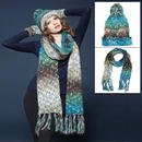 Zaylie Design Winter Accessory Set - Hat & Scarf Blue & Green Multi Speckle