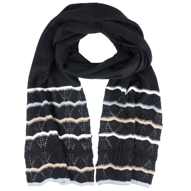 hallie scarf with stripes and lacy crochet border