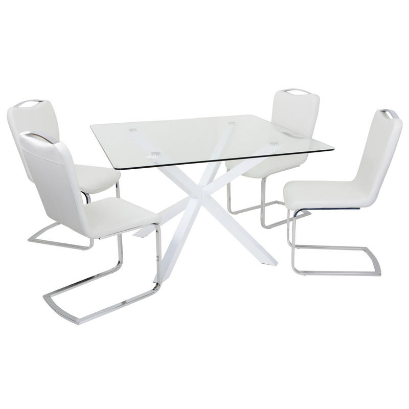 White Square Dining Table: Square White Glass Dining Table Set With Four Chairs