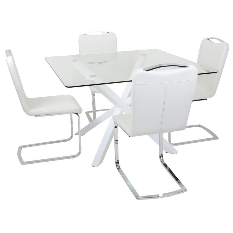 Square white glass dining table set with four chairs for Four chair dining table