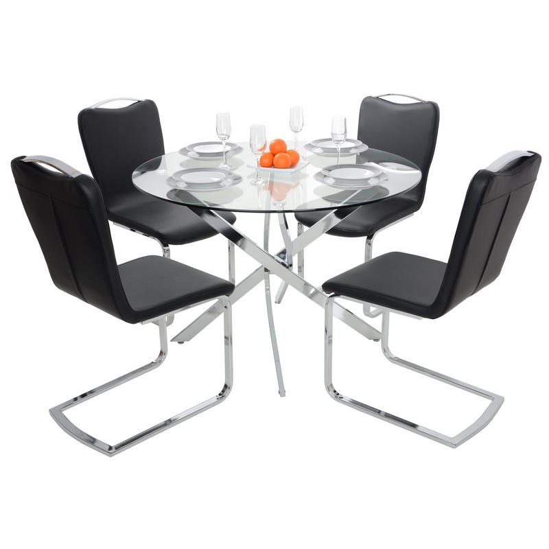 round glass top dining table set with 4 black chairs thumbnail 2