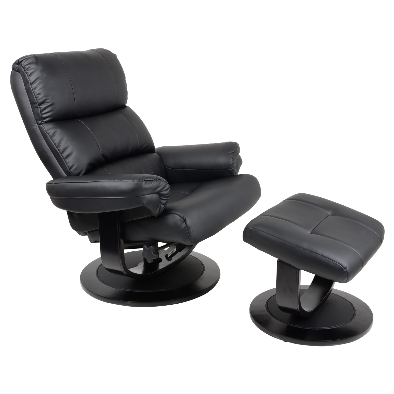 luxury black faux leather relaxer chair 360 swivel recliner armchair