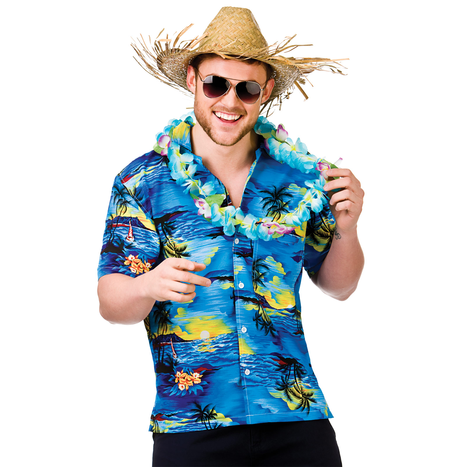 Mens Hawaiian Fancy Dress Shirt Beach Luau Aloha Summer Party Floral / Palm Tree | eBay