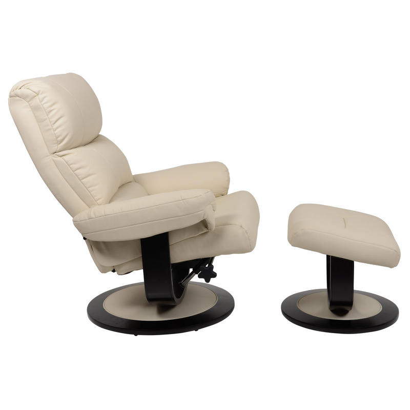 Luxury Cream Relaxer Chair Recliner Armchair With Foot Stool