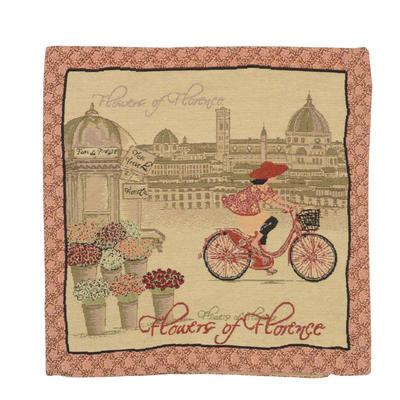 "Wholesale Job Lot Of 10 Cushion Covers With ""Bicycle"" Tapestry Style Design 45cm (18"")"