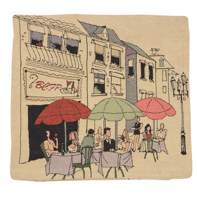 "Wholesale Job Lot Of 10 Cushion Covers With ""Cafe"" Tapestry Style Design 45cm (18"")"