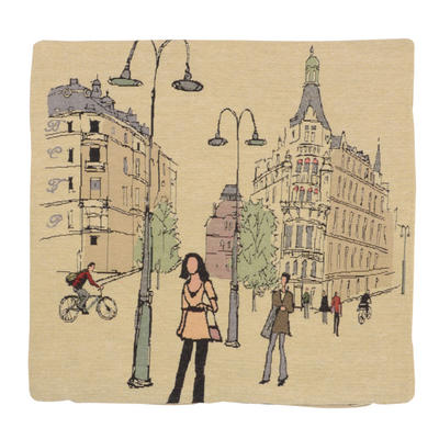 "Wholesale Job Lot Of 10 Cushion Covers With ""Street Scene 2"" Tapestry Style Design 45cm (18"")"