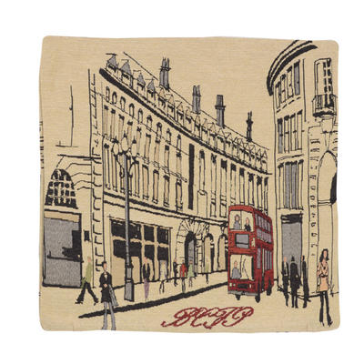 "Wholesale Job Lot Of 10 Cushion Covers With ""London Bus"" Tapestry Style Design 45cm (18"")"