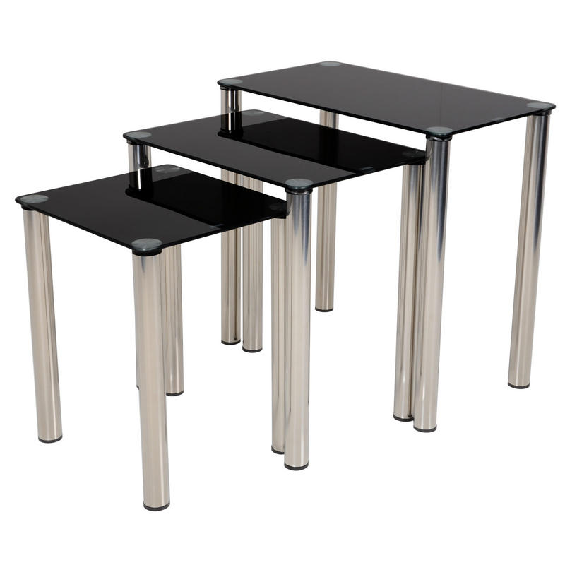 Round glass dining table set - Modern Black Glass Nova Nest Of Tables Nesting Set Of Three Preview