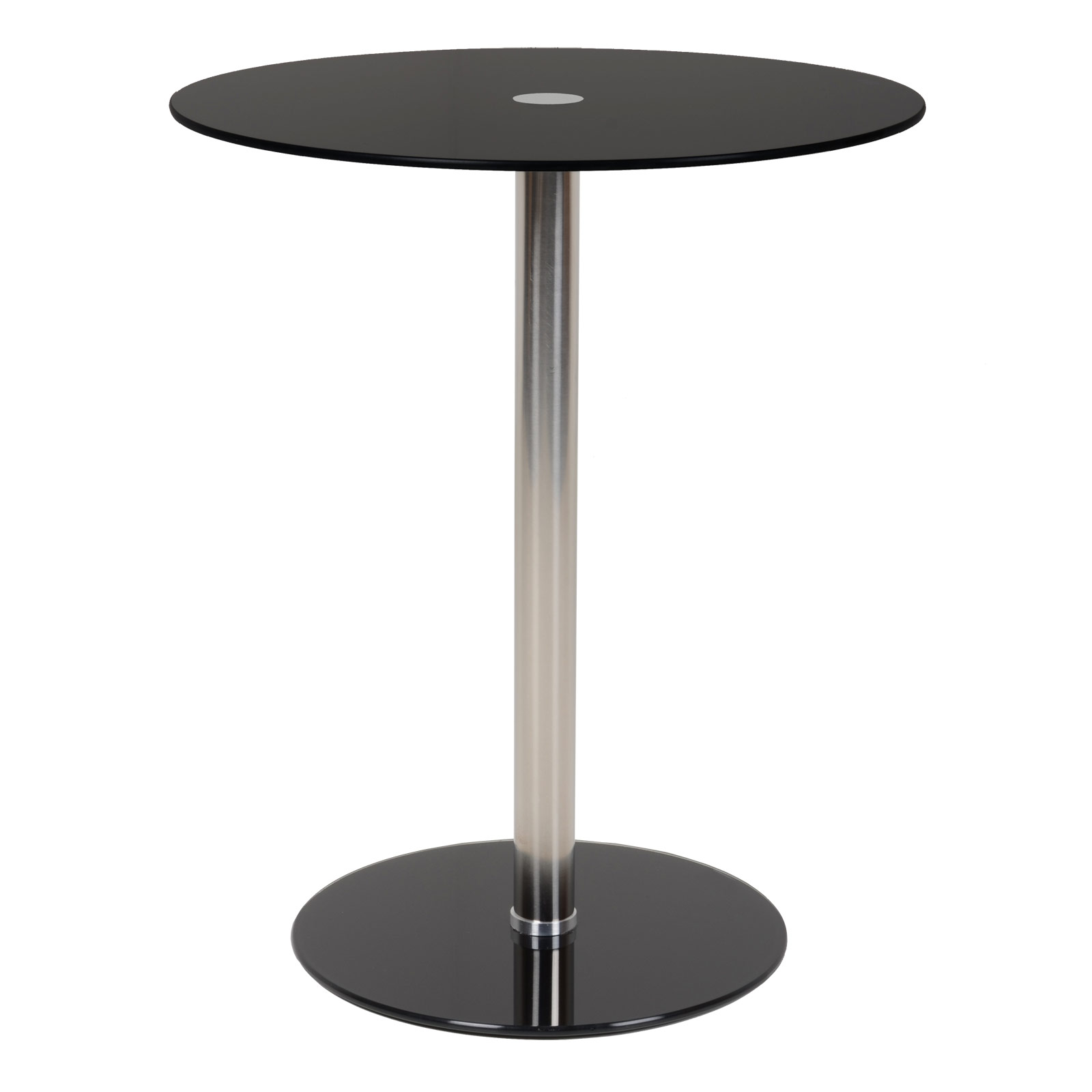 Nova black round modern glass top side table sidebar - Glass side tables for living room uk ...