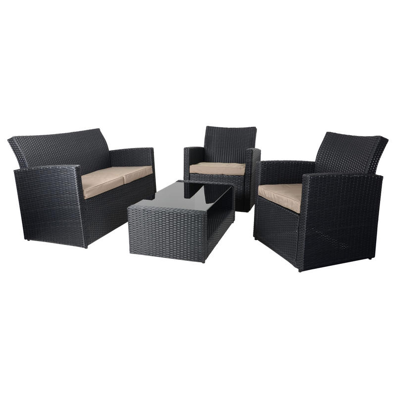 Black Wicker Coffee Table: Black Tuscany Rattan Wicker Sofa Garden Set With Coffee Table