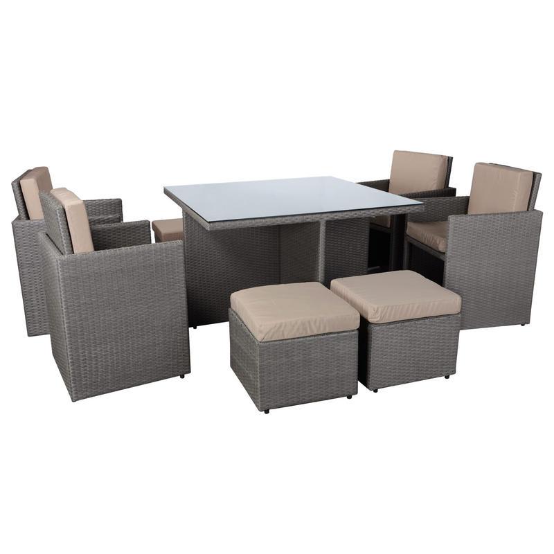 9 Piece Mocha Rattan Wicker Cube Table Chair Footstool