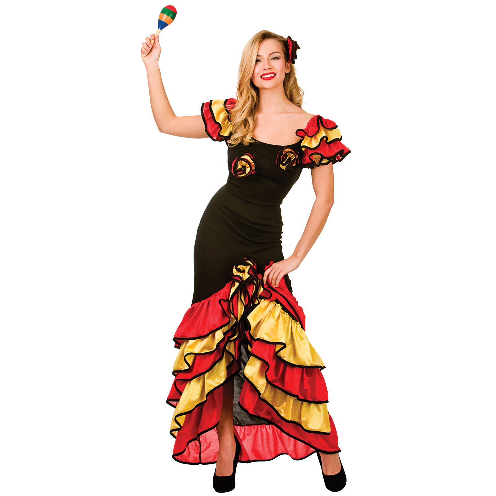 Ladies Spanish Rumba Dancer Halloween Fancy Dress Up Party Costume ...