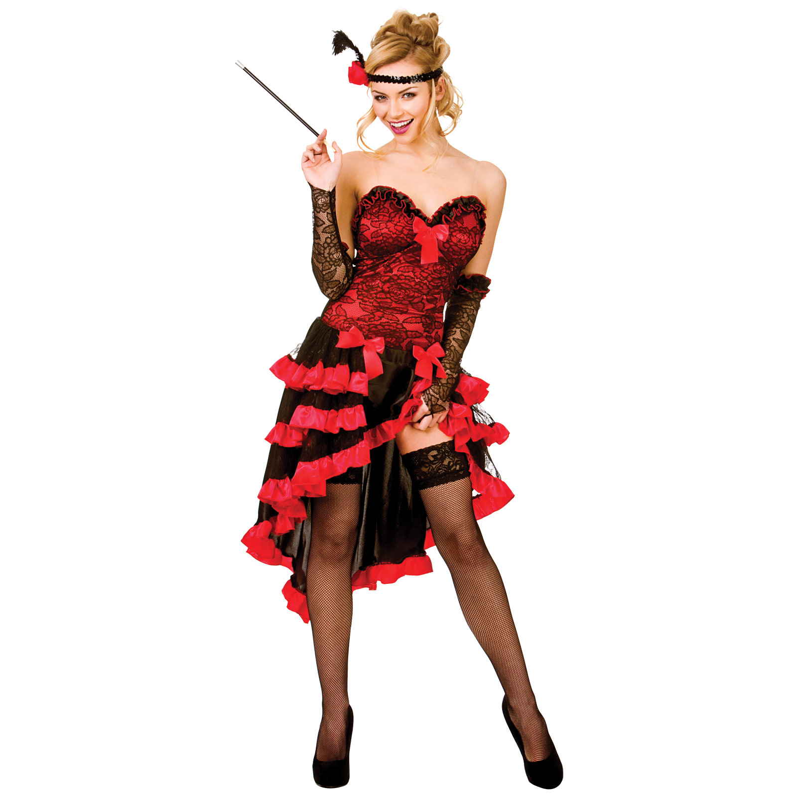 Ladies Red Wild West Showgirl Fancy Dress Up Party Halloween ...