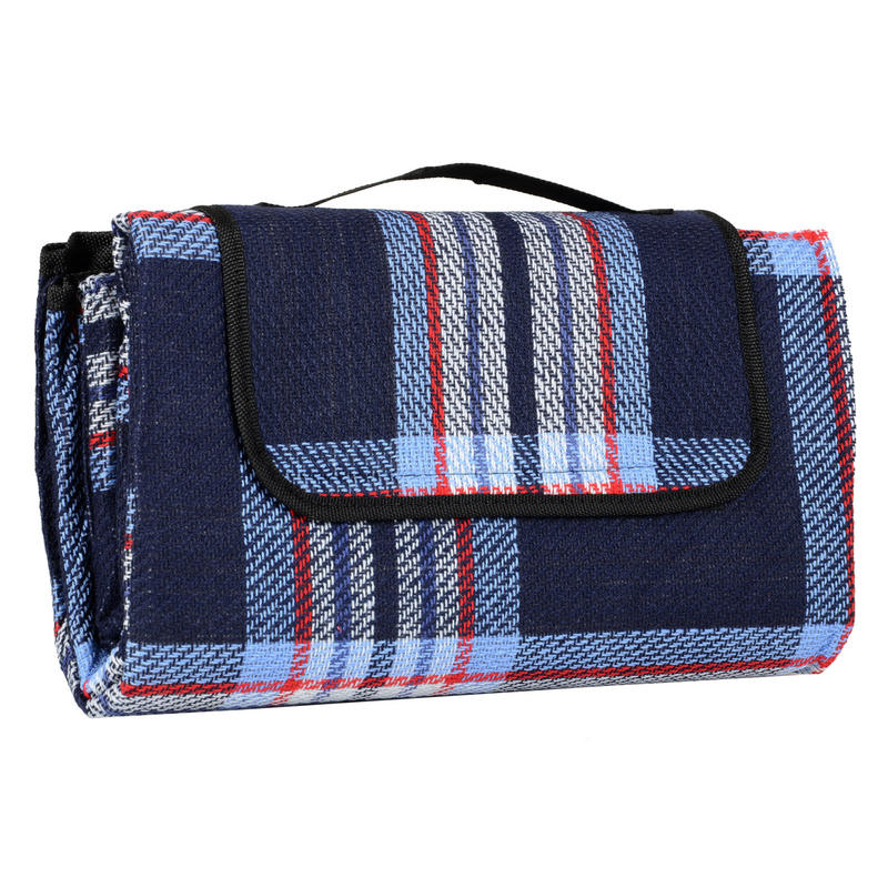 Navy & Lilac Check Folding Waterproof Acrylic Picnic