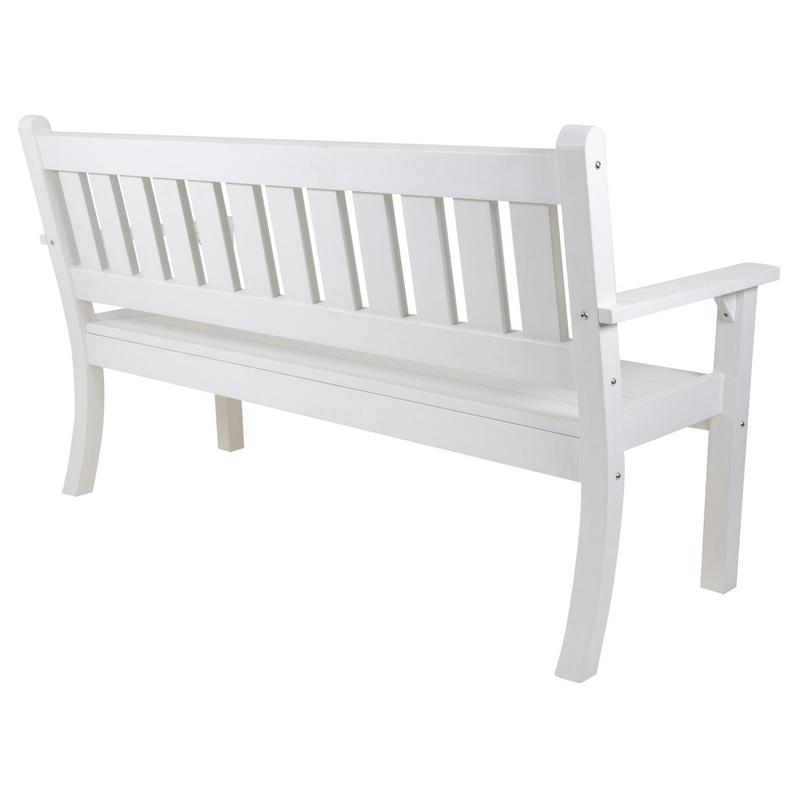 3 seat white zero maintenance garden patio jura bench for Zero maintenance garden