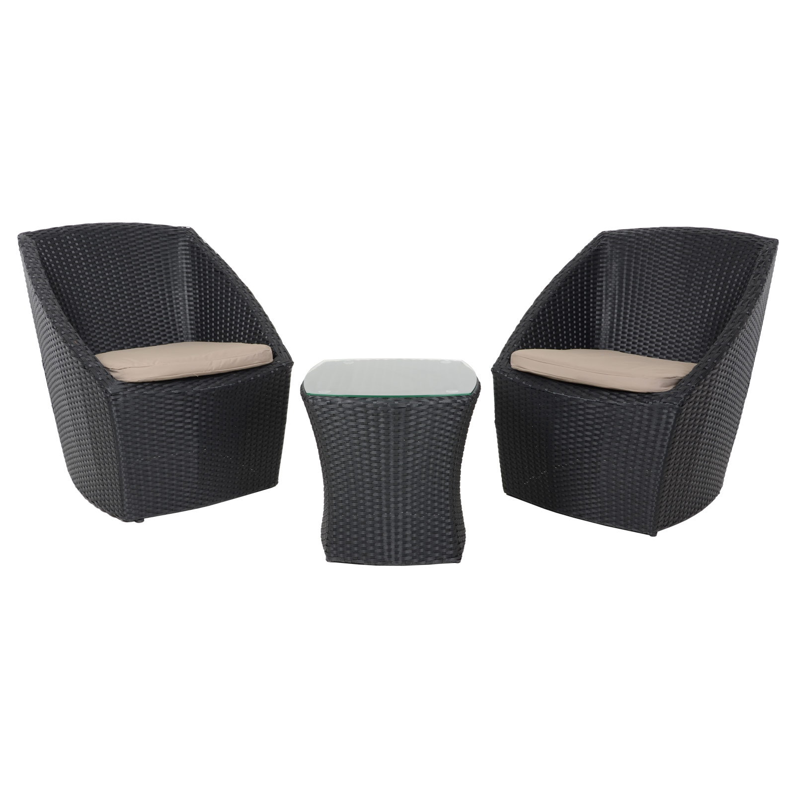 Lazio Rattan Wicker Garden Furniture Bistro Set With Coffee Table 2 Chairs Ebay