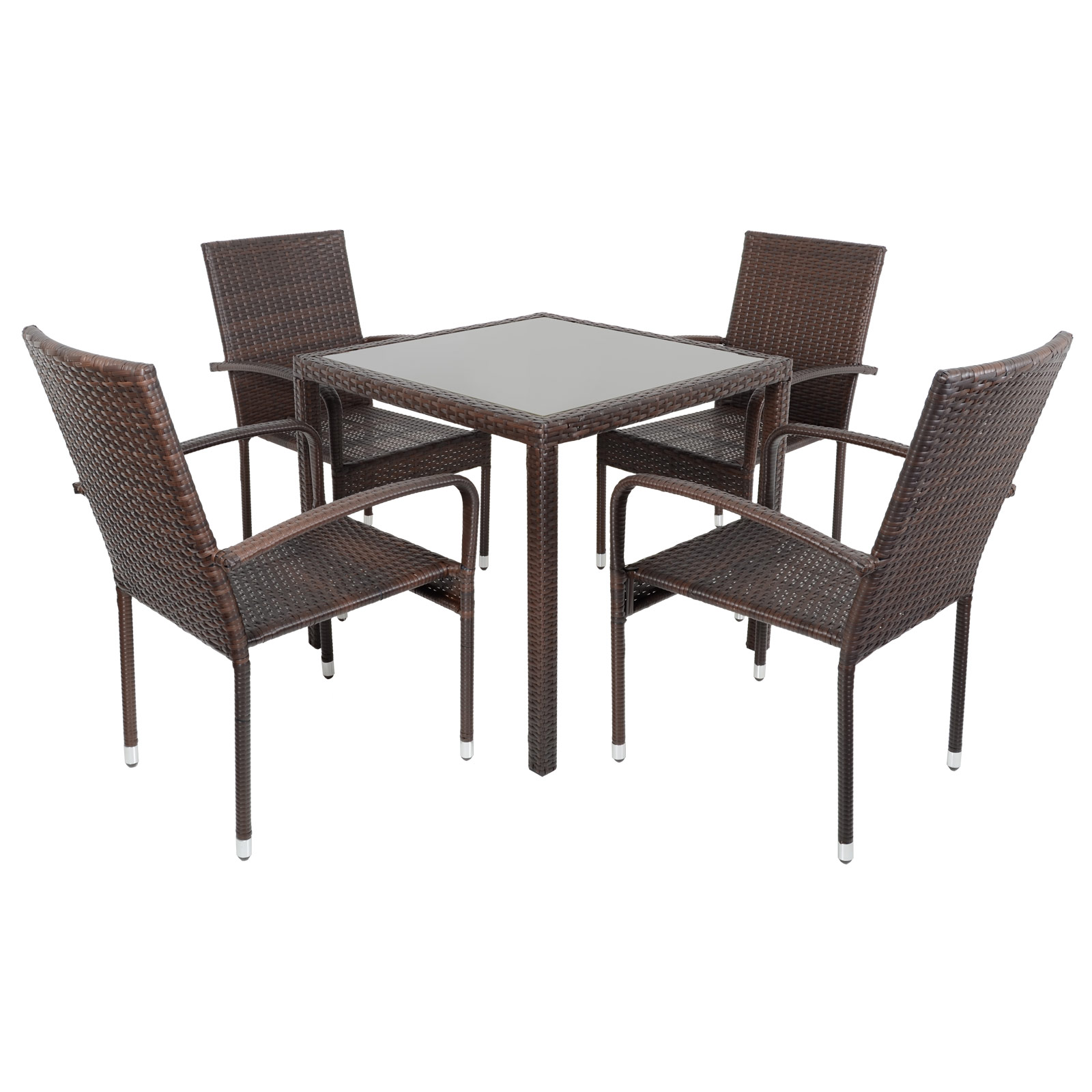 Modena rattan wicker dining table with 4 chairs garden for Small patio table and 4 chairs