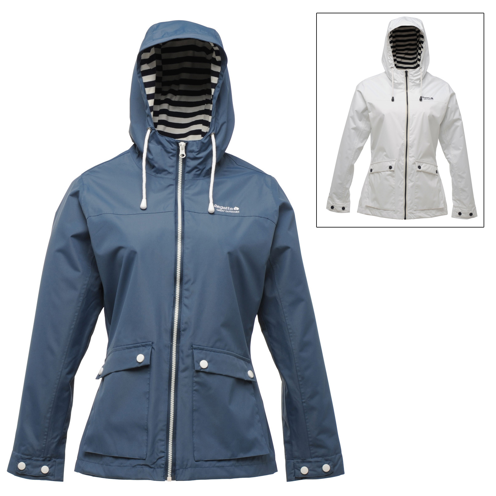 Regatta Womens Bayeux Waterproof Jacket With Hood & Striped ...