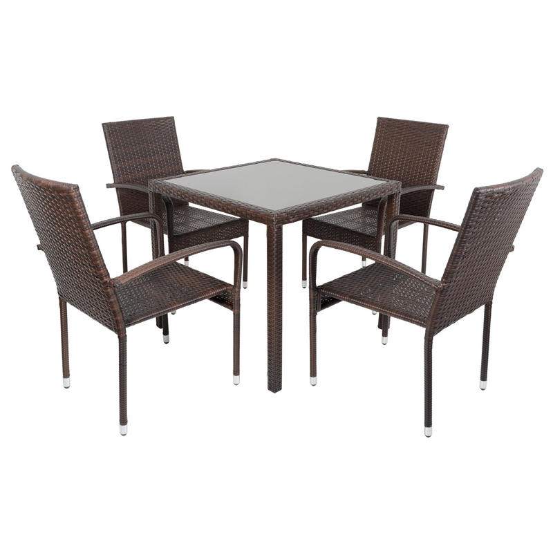 Rattan Dining Table And Chairs: Brown Modena Rattan Wicker Dining Table With 4 Chairs