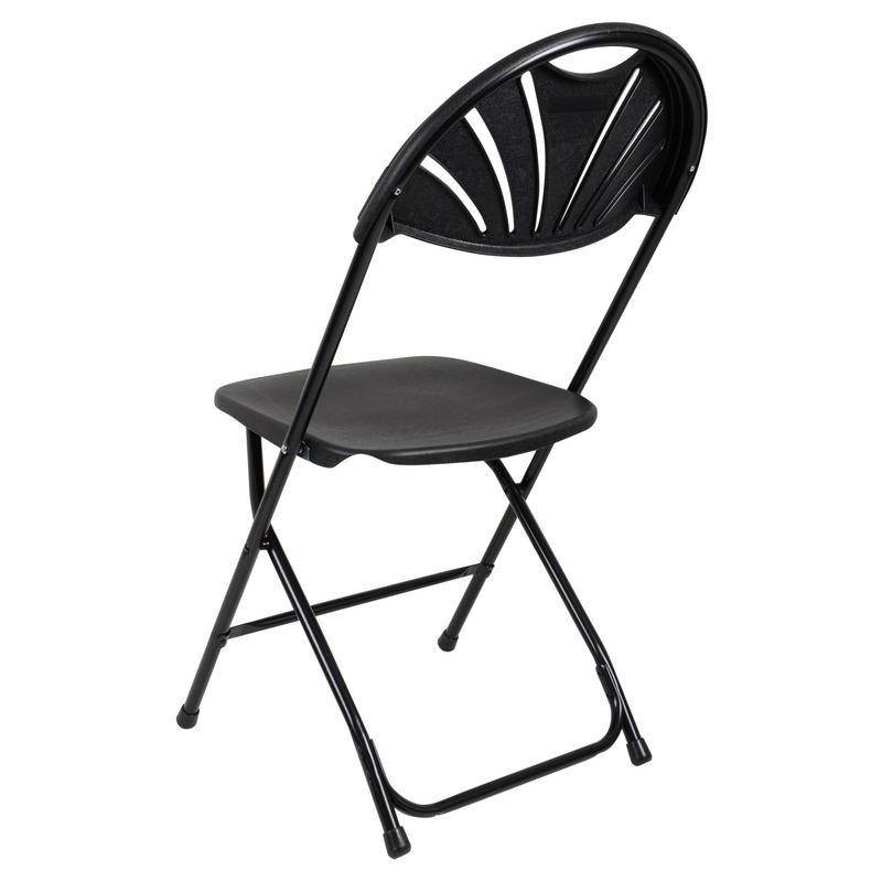 Set 2 Black Folding Plastic Chairs With Sunrise Backrest Indoor Garden Seat