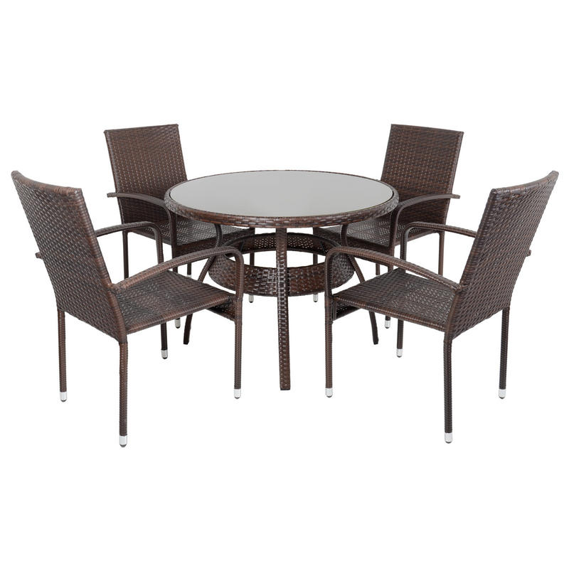 Wicker Dining Table Sets ~ Brown ravenna rattan wicker garden dining table set with