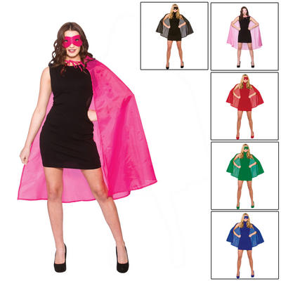 Adults Super Hero Cape With Mask Fancy Dress Accessory