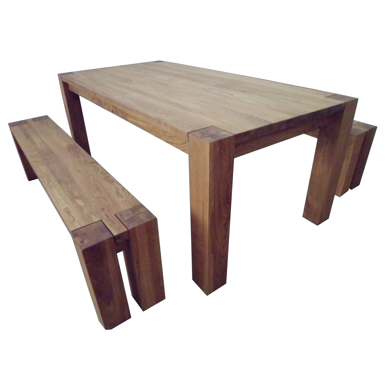 Braemar rectangular oak wood dining kitchen table furniture set with 2 benches ebay - Rectangle kitchen table sets ...