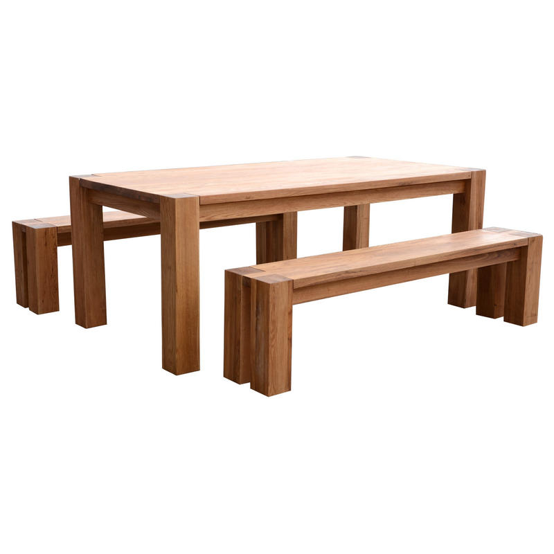 braemar solid oak dining table set with 2 benches preview