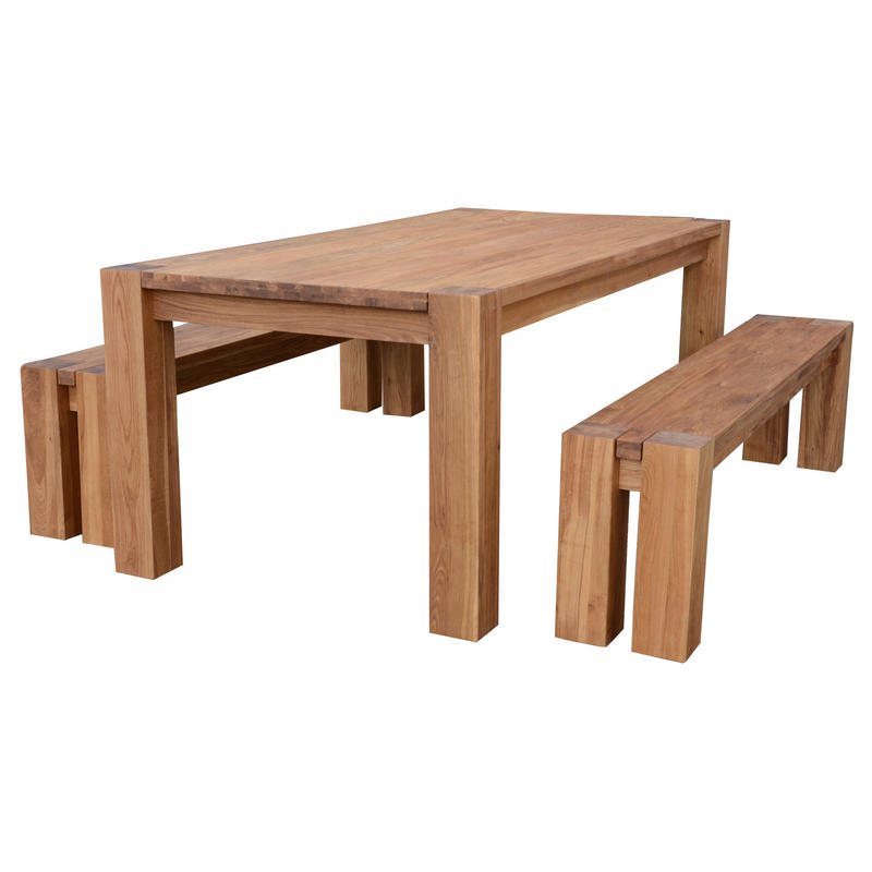 braemar solid oak dining table set with 2 benches thumbnail 2