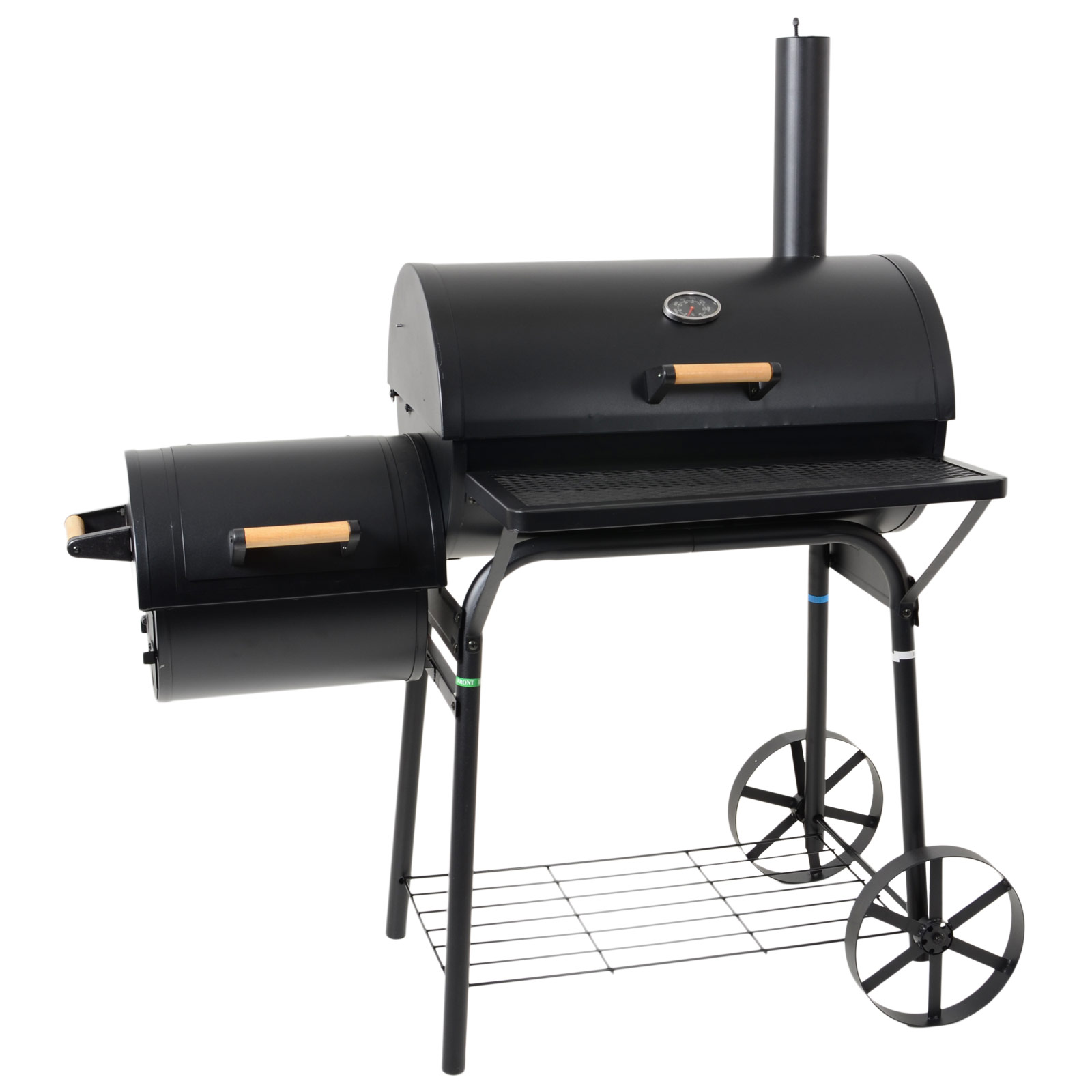 bbq large barrel style steel smoker charcoal barbeque bbq outdoor grill new ebay. Black Bedroom Furniture Sets. Home Design Ideas