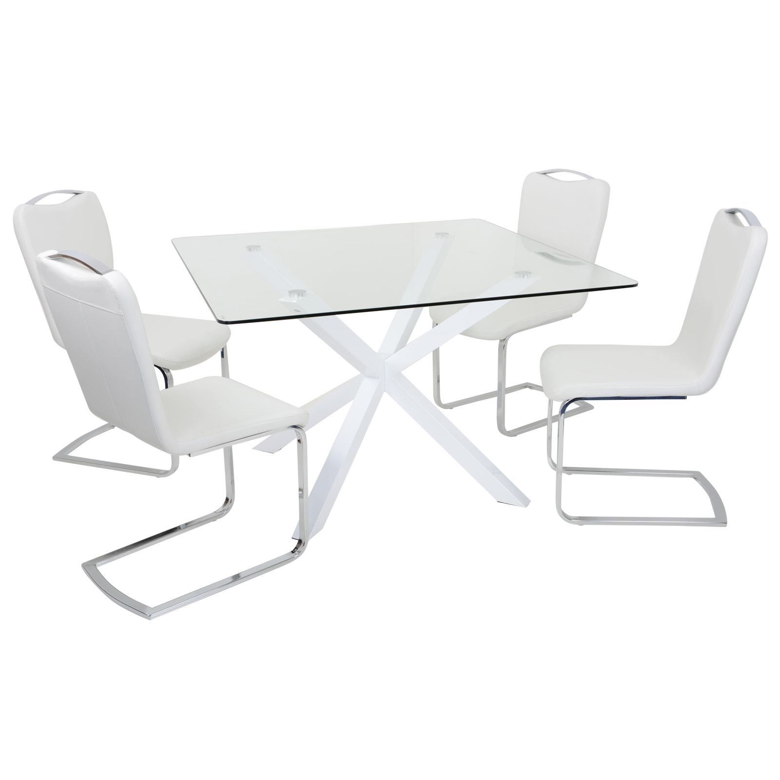 details about modern dining set square table with clear glass top 4