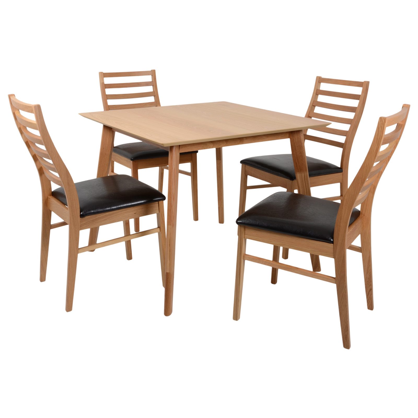 Oak Dining Set Square Table 4 Faux Leather Chairs Kitchen Diner Wooden Furnit