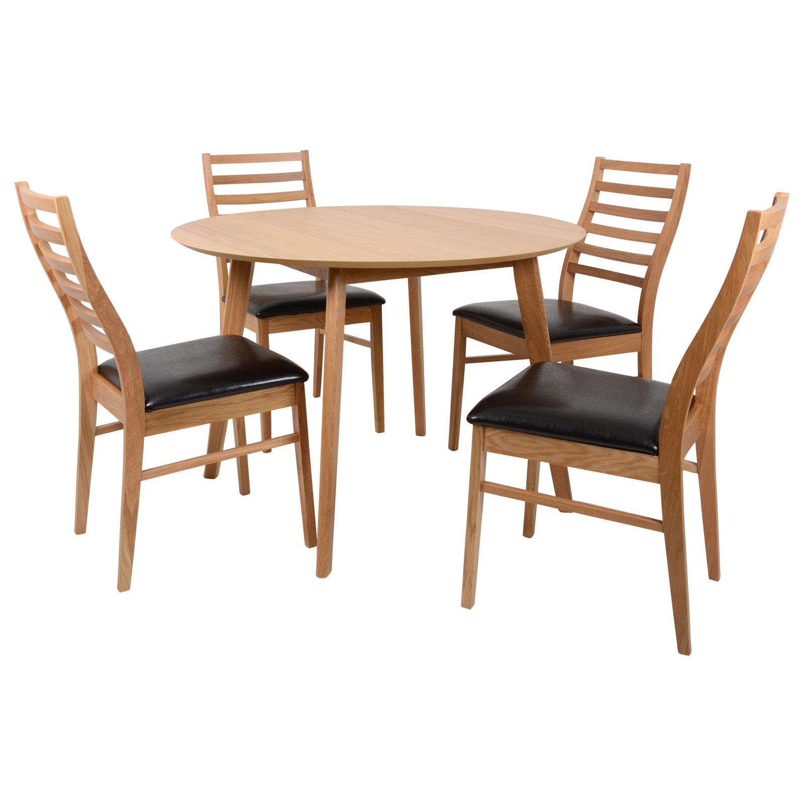 dining set round oak table 4 matching wooden chairs furniture ebay