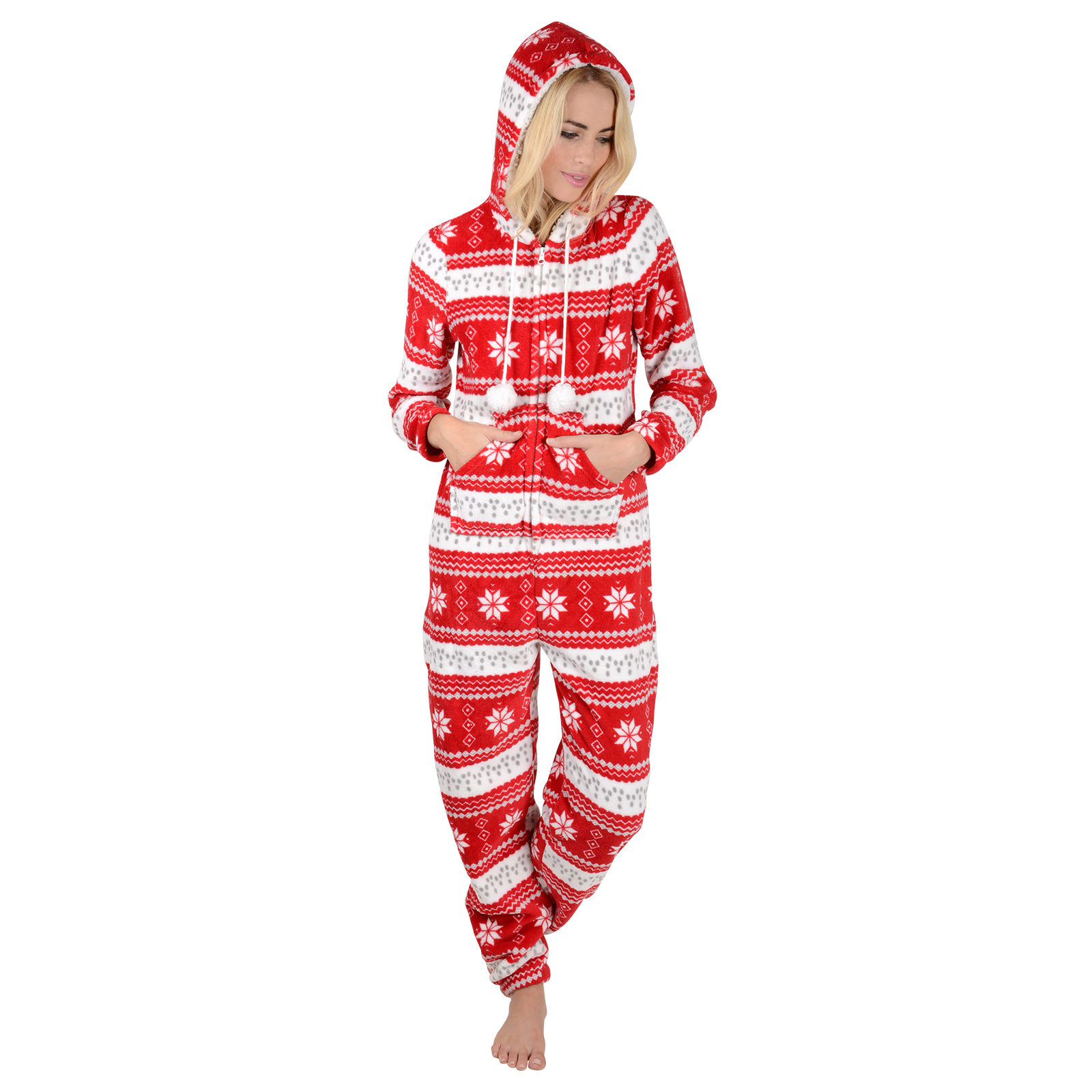 Ladies Fleece All In One Piece Pyjamas Jump Sleep Suit PJs ...