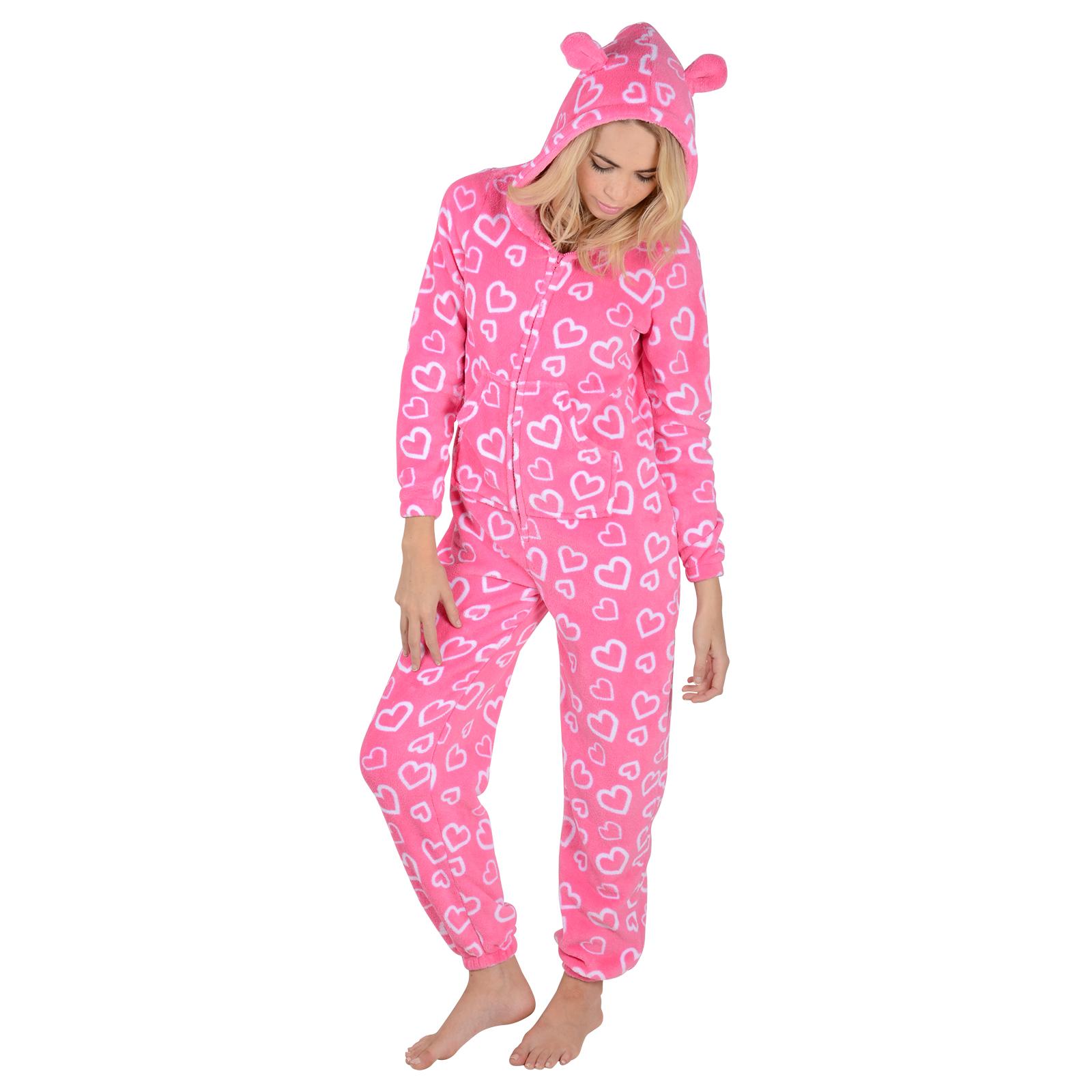 ladies fleece all in one piece pyjamas jump sleep suit. Black Bedroom Furniture Sets. Home Design Ideas