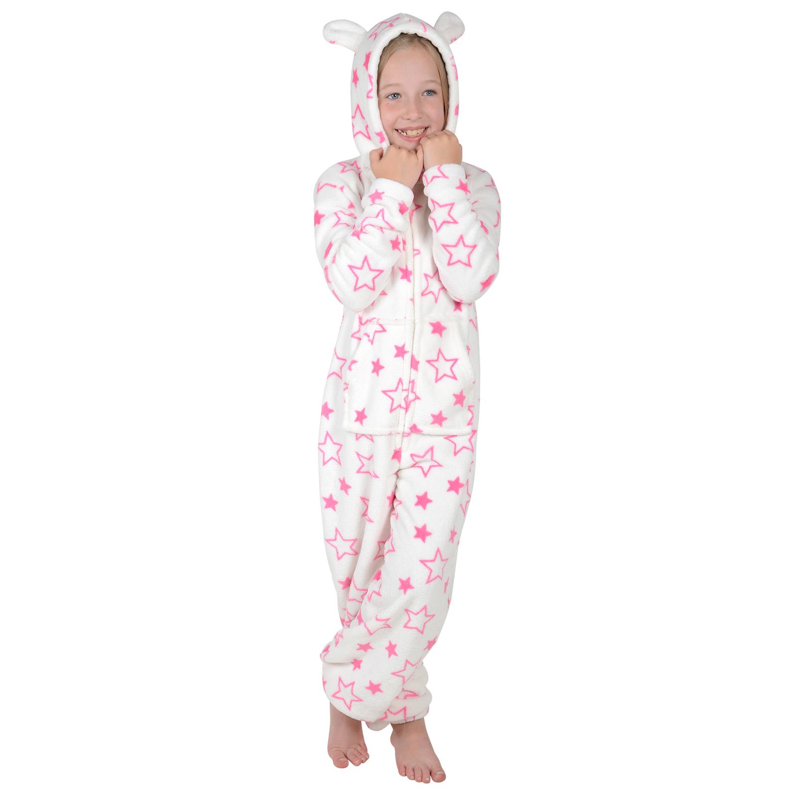 girls hooded fleece all in one piece pyjamas jump sleep. Black Bedroom Furniture Sets. Home Design Ideas