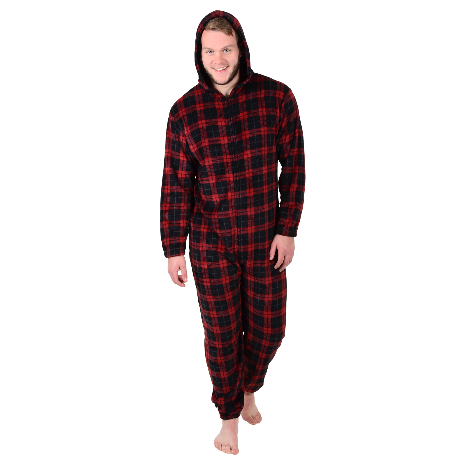 mens cosy fleece all in one piece pyjamas jump sleep suit pjs nightwear new ebay. Black Bedroom Furniture Sets. Home Design Ideas