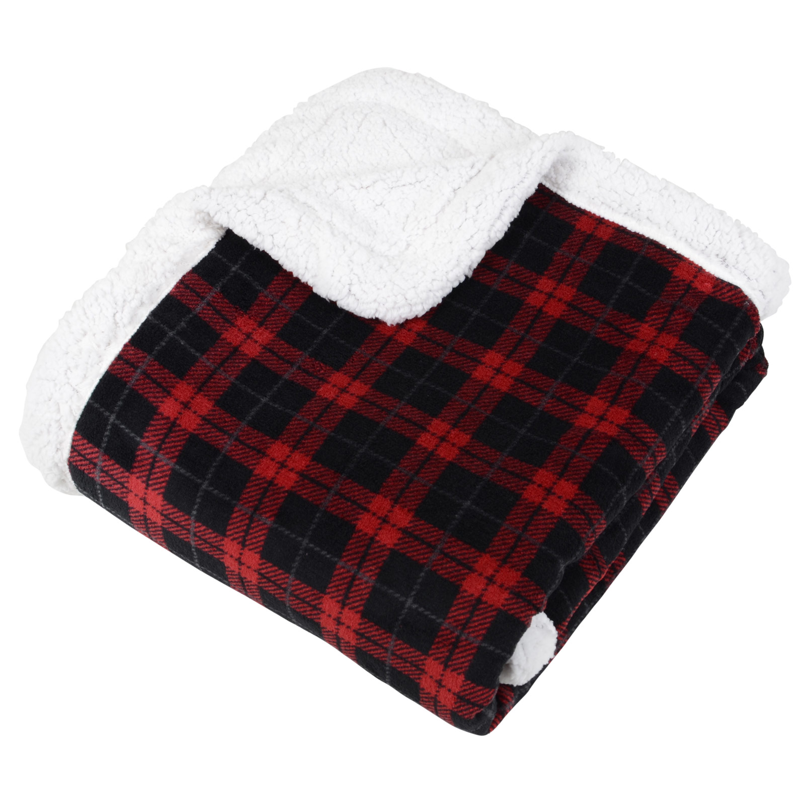 Tartan Check Warm Fleece Blanket Soft Sherpa Luxury