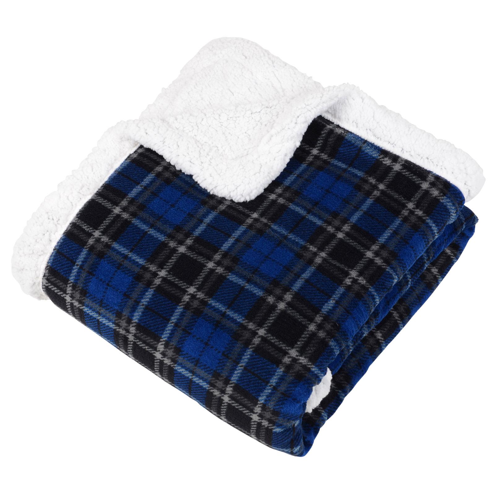 Tartan check warm fleece blanket soft sherpa luxury warm for Sherpa blanket