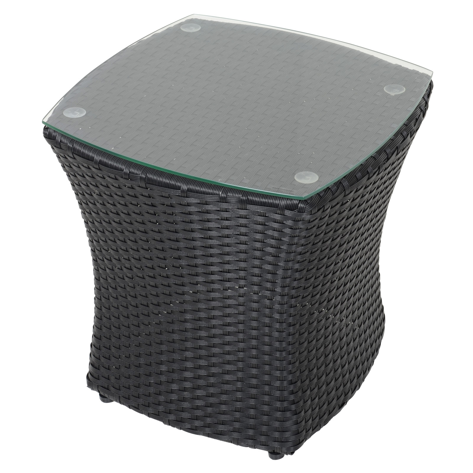 Lazio Black Bistro Set Coffee Table 2 Chairs Rattan Wicker Deck Garden Furniture Ebay