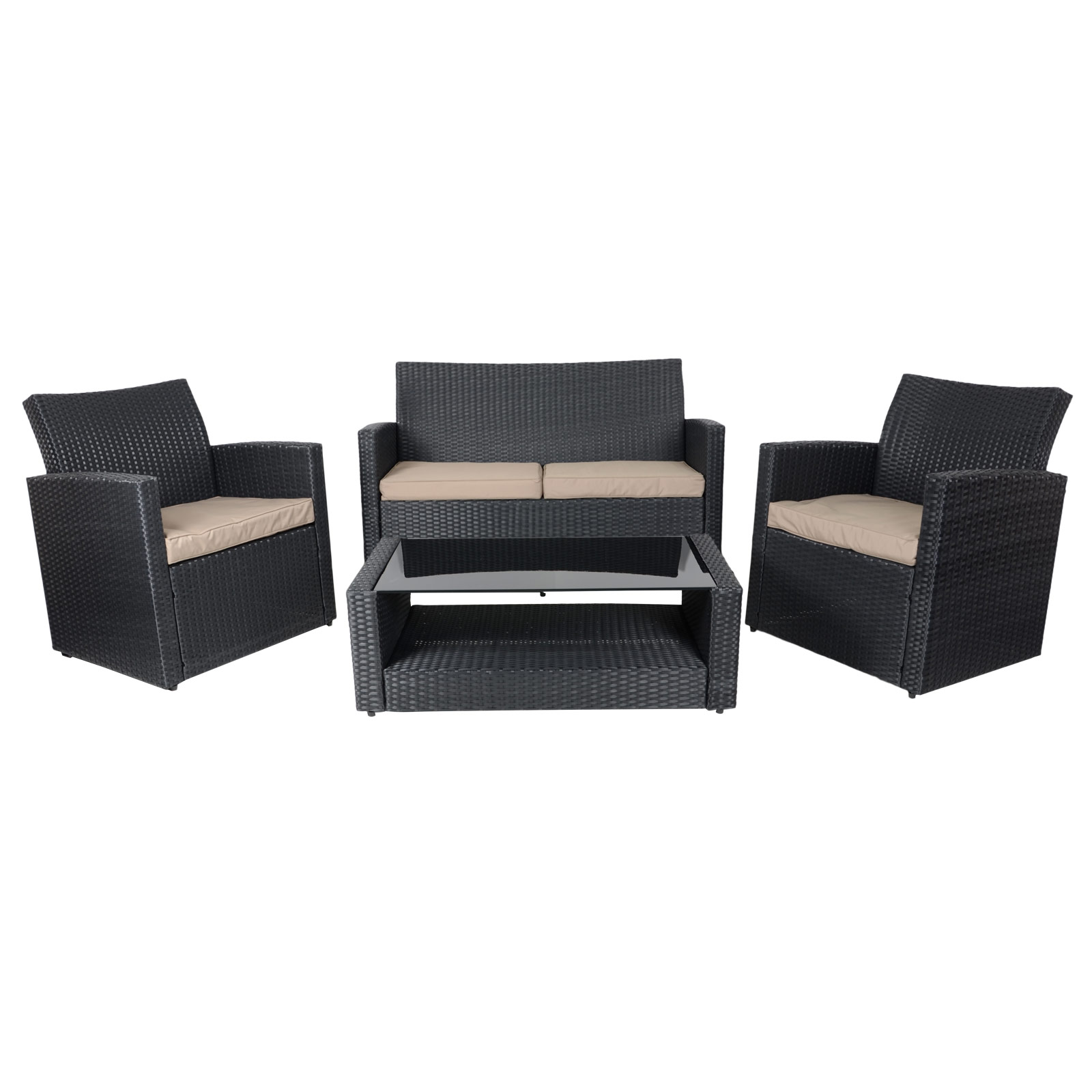 Tuscany Black Sofa Set Table Chairs Rattan Wicker Garden Conservatory Furniture